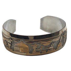 Vintage Navajo TSK Storyteller Cuff Bracelet
